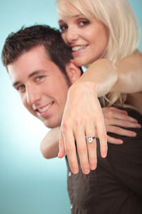 love couple with diamond ring hand
